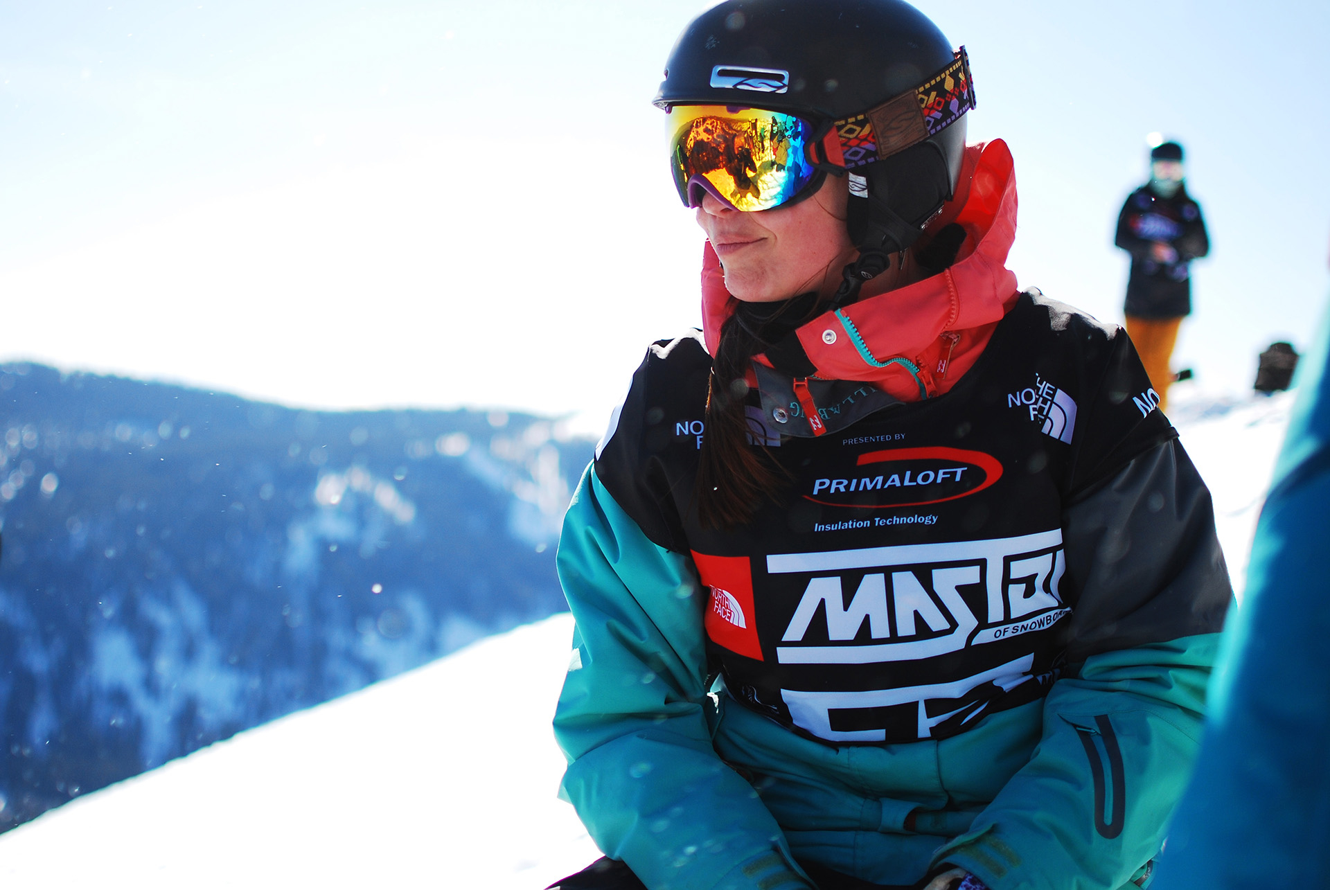 Female snowboarder at Squaw Valley at Lake Tahoe