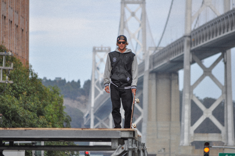 Ryan Sheckler at Dew Tour in San Francisco, Bay Bridge in background